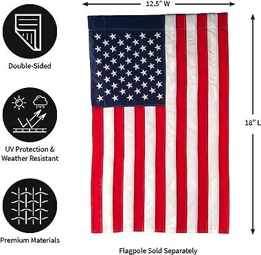 Evergreen Flag American Flag Garden Size Applique Flag - 12.5 x 18 Inches Outdoor Patriotic Americana Decor for Homes and Gar