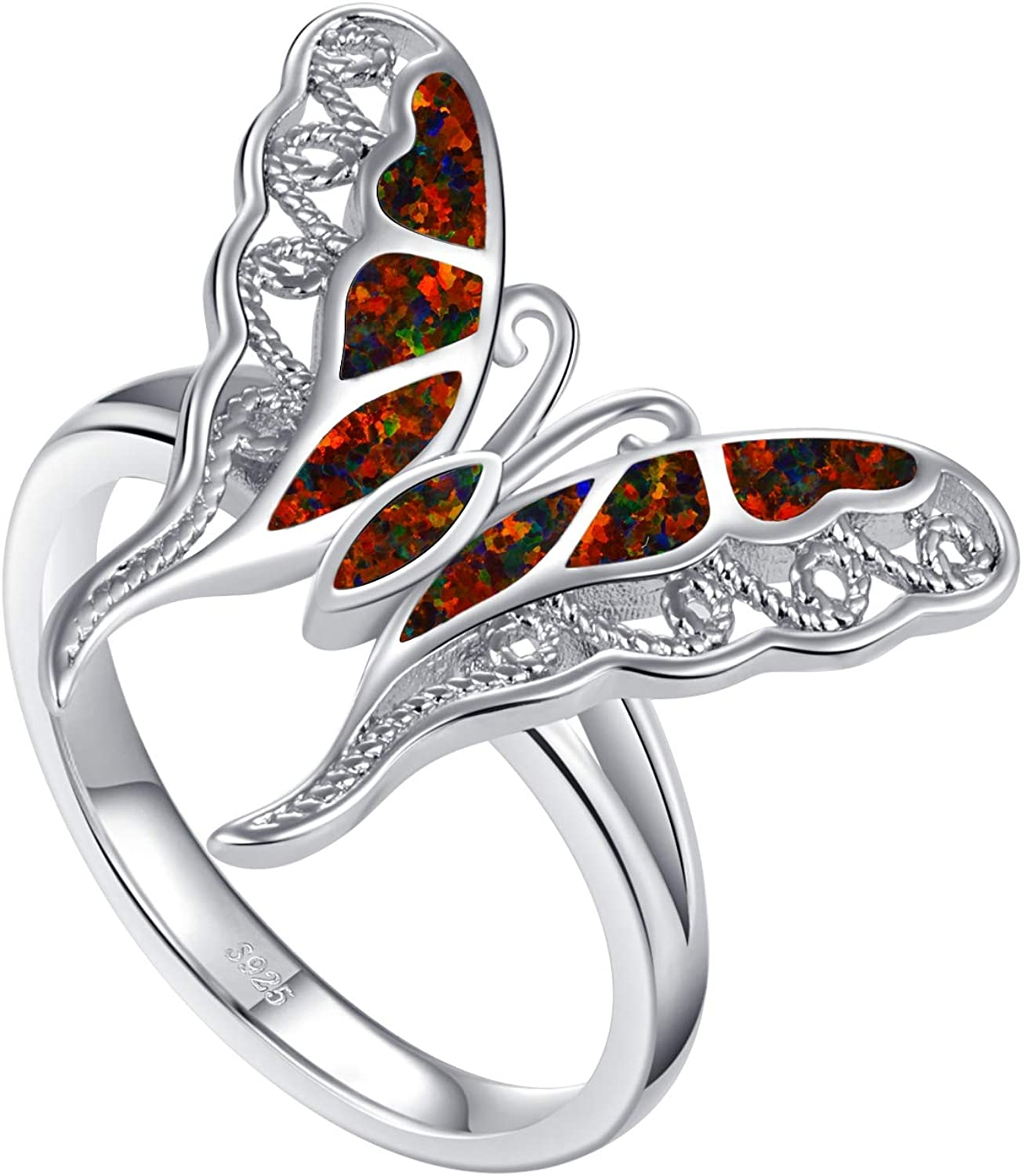 Opal Max 64% OFF Gem Vivid Butterfly Rings Plated Silver Created Abalone or 2021 model