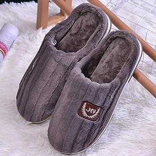 Sgfccyl Hommes Chaussons d'hiver Grande Taille 45-50 TPR Suede Chaud Maison Chaussures Homme Mode rayé Mémoire Solide en M...
