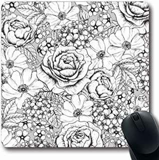 Ahawoso Mousepad Oblong 7.9x9.8 Gray Flower Ornate Floral Pattern Vintage White Black Sheet Romantically Rose Retro Drawn Beautifully Non-Slip Rubber Mouse Pad Office Computer Laptop Game Mat