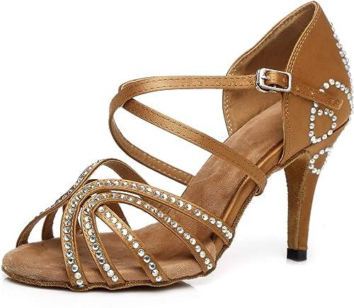Satin Fond Mou Mou Strass Talons Hauts Sandales pour Femmes Latines Talon évasé Chaussures de Danse  bonne qualité