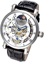 Rougois Silver Case Dual Time Zone Moonphase Display Watch Black Leather Band