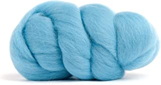 Merino Wool Roving, Premium Combed Top, Color Aqua Blue, 21.5 Micron, Perfect for Felting Projects, 100% Pure Wool, Made in The UK