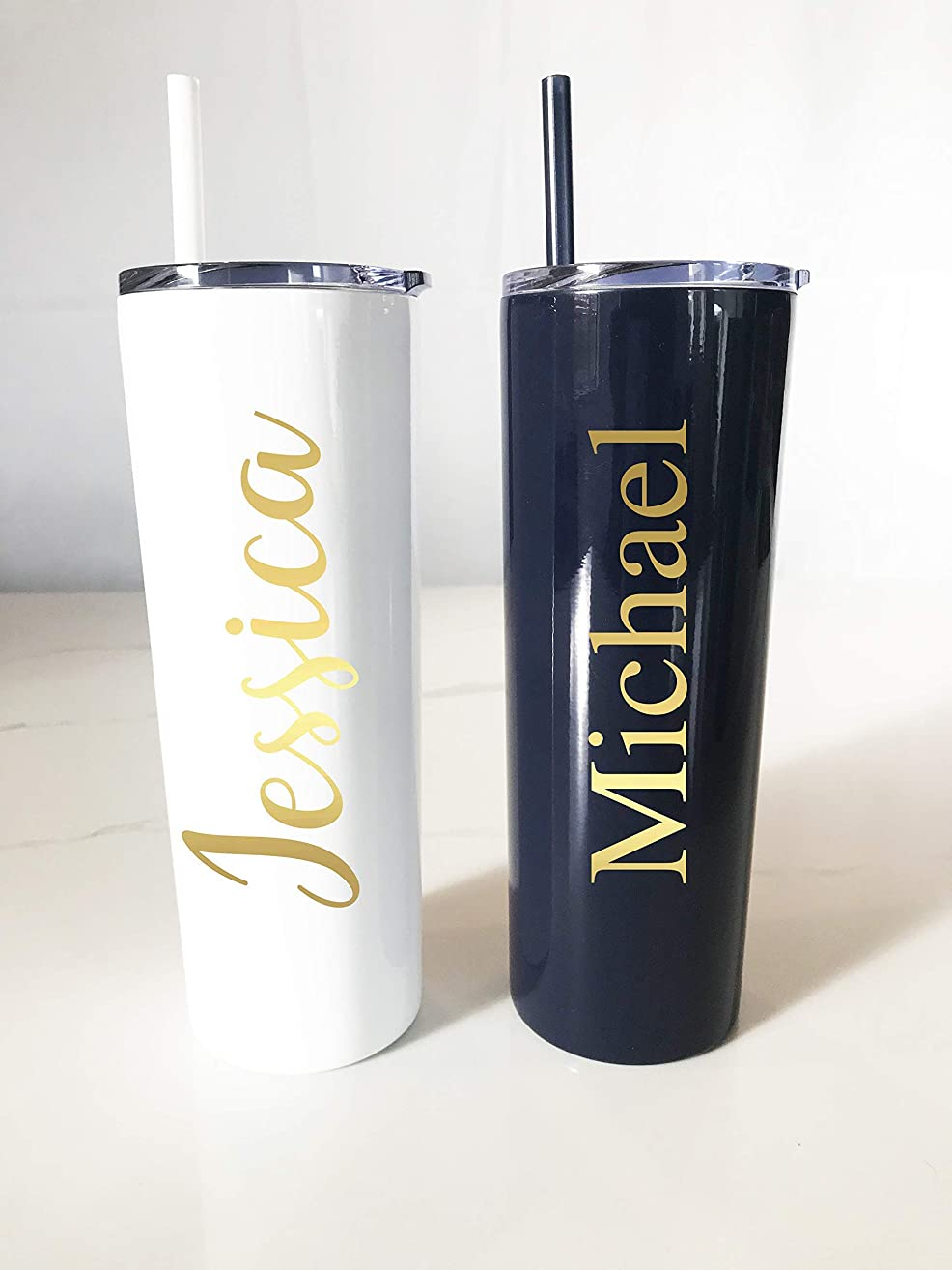 Personalized Metal Tumbler Straw | Personalized Tumbler | Skinny Metal Tumbler | Bachelorette Party | Girls Trip Tumblers | Birthday Active