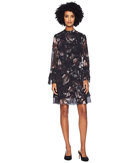 FUZZI Long Sleeve Ruffle Printed Dress