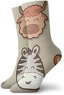 tyui7, Calcetines de compresión antideslizantes con cara de animal salvaje dibujados a mano Calcetines deportivos acogedores de 30 cm para hombres, mujeres y niños