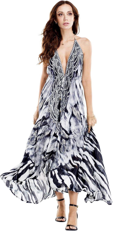 La Moda Clothing Multicolor Backless Resortwear 3Way Dress   Designer Deep VNeck Resort Wear   by GOGA Swimwear