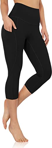ODODOS Women's High Waist Yoga Capris with Pockets, Workout Sports Running Athletic Capris Leggings with Pocket
