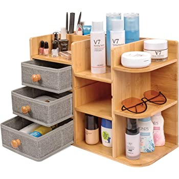 Bamboo-Makeup-Cosmetic-Storage-Organizer, Multi-Function wood Cosmetic Large Capacity Make up Caddy Shelf Cosmetics Organizer Box, Natural Bamboo