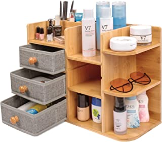Bamboo-Makeup-Cosmetic-Storage-Organizer, Multi-Function wood Cosmetic Large Capacity Make up...