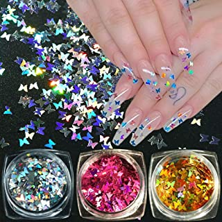 Butterfly Nail Art Decals Nail Art Glitter Sequins Holographic Flakes 3D Butterfly Sparkly Mermaid Mirror Manicure Decor Tips 3 Box