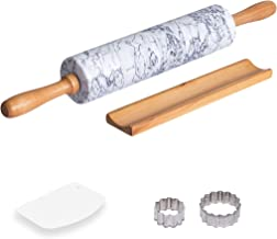 COZYMAT Marble Rolling Pin Non-stick, with Wood Stand for Fondant/Dough/Baking, Heavy and Solid Stone, White, 18 Inch, 10