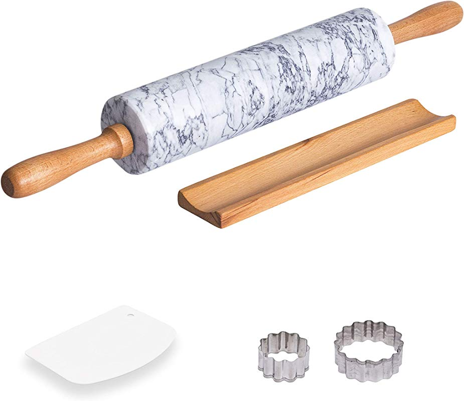 COZYMAT Marble Rolling Pin Non Stick With Wood Stand For Fondant Dough Baking Heavy And Solid Stone White 18 Inch 10 Long Barrel