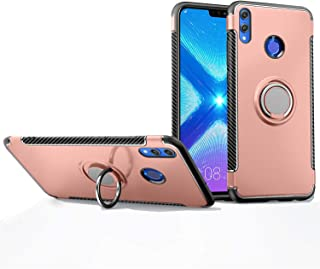 Honor 8X Case, Mingwei [with 360 ° Kickstand] Rotating Ring Case [Dual Shockproof] Protection Cover Compatible with [Magnetic Car Mount] for Huawei Honor 8X (Rose Gold, Honor 8X)