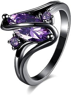 JJ WAY مجوهرات الياقوت خواتم كبيرة أوبال الأرجواني كريستال أسود خاتم للنساء فتاة الحجم 5-10