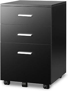 DEVAISE 3 Drawer Wood Mobile File Cabinet, Rolling Filing Cabinet for Letter/A4 Size, Black