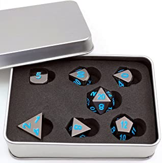IvyFieldDice Shiny Black Painted and Blue Numbers, Polyhedral Metal Dice with Metal Case, Set of 7 for RPG D&D Math Teaching