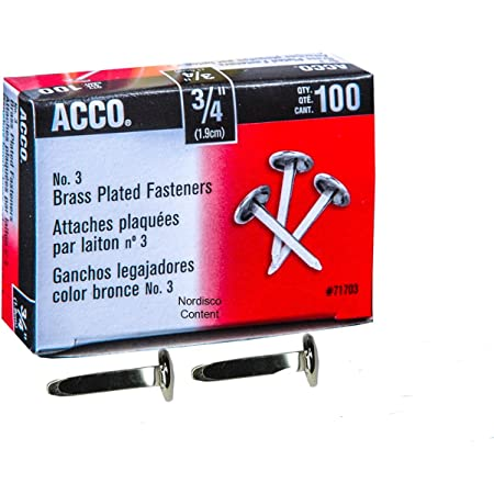 A7071712CS 1 Case ACCO Brass Paper Fasteners 10 Boxes//Case 1-1//2 Plated 100 Fasteners//Box