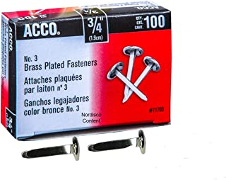 ACCO Brass Paper Fasteners, 3/4