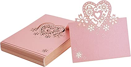 Kmall 50PCS Pink Heart Blank Card Laser Cut Table Carved Mark Place Name Cards Holder for Guest Engagement Birthday Wedding Birth Baptism Christmas Wedding Banquet Champagne Decoration Party Favor