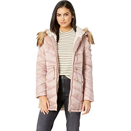 7467422872 Jessica Simpson Womens Quilted Hooded Jacket w/Tie Waist