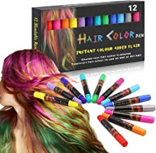 Hair Chalk, Hair Chalk Pens, Temporary Washable Hair Color for Hair Dye, Safe&Non-allergenic Makeup Kit for Kids & All Ages and Pets, Great Gift for Parties, Cosplay and All Festivals, etc, 12 Colors