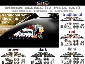 """SET OF 2 INDIAN HEAD MOTORCYCLES VINYL DECALS 5/"""" X 2/"""" GOLD"""