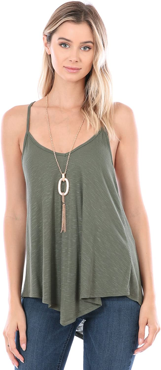 Bequzz Solid Rib Slub V Neck Spaghetti Strap Flare Tank Top with Necklace