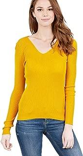 Mirabell Women's Lightweight V-Neck/Mock Neck Long Sleeve Sweater Knit Top