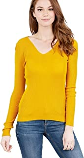Mirabell Women's Lightweight V-Neck/Mock Neck Long Sleeve Sweater Knit Top