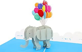 PopLife Elephant and Balloons 3D Mothers Day Pop Up Card - Pop Up Happy Birthday Card, Baby Shower Gift, Get Well - Folds Flat for Mailing - for Mother, for Daughter, for Son, for Wife, Granddaughter