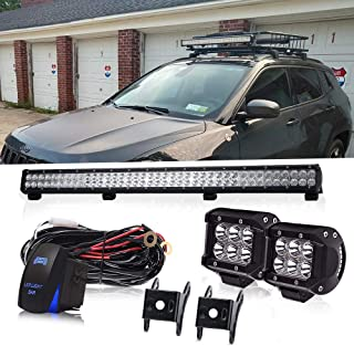 36 Inch 234W Led Light Bar Grill Guard Roll Bar Push Bumper Canopy Roof Rack + 4In 18W Pods Cube Driving Fog Lights W/Rocker Switch For Dodge Truck RTV Golf Cart Boat Toyota Tacoma 4 Wheeler Chevy