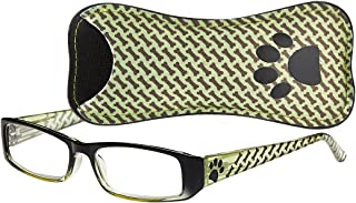 Select-A-Vision Dog Bone Rectangular Reading Glasses w/Paw & Bone Design, Green, 1.50