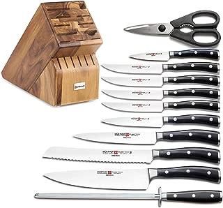 Wusthof Classic Ikon 12-Piece Knife Set with 17-slot Knife Block, Acacia