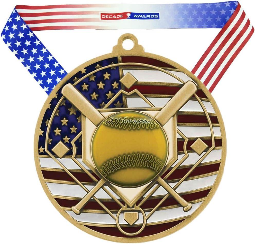 Decade Awards Softball Alternative dealer Manufacturer regenerated product Patriotic Medal - Wide Inch 2.75 Pit Slow