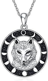قلادة الذئب 925 الفضة الاسترليني القمر المرحلة الذئب رئيس الفايكنج النرويج قلادة هدية مجوهرات للنساء الرجال