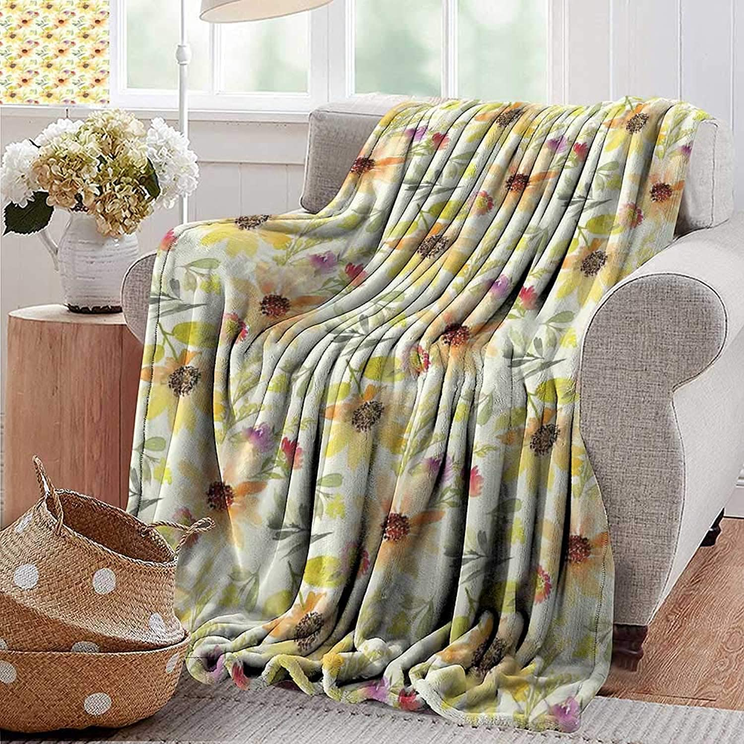 PearlRolan Weighted Blanket,Watercolor Flower,Pastel colord Summer Sunflowers with Pale Leaves Nature Style,orange Cream Green,Indoor Outdoor, Comfortable for All Seasons 35 x60