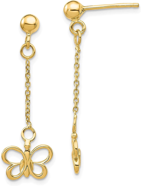 14k Butterfly Dangle Post Earrings