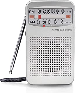 AM FM Portable Pocket Radio, Compact Transistor Radios with Earphone Jack and Loud Speaker, Long Lasting, Best Reception, ...