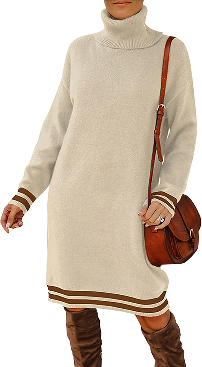 ECOWISH Turtleneck Sweater Dress for Women Knee Length Long Sleeve Knitted Sweaters