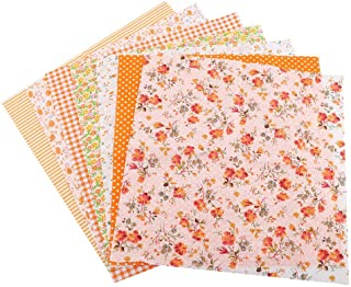 7Pcs Orange Floral Fabric Fabric, Sewing Fabric Fabric Squares, for Home School Quarters Sewing Shop(25 * 25)