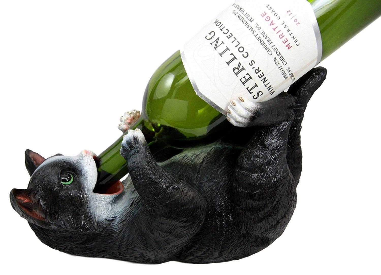 Atlantic coleccionables Gatos American Gato Negro Kitty Cat para Botella de Vino Soporte para Figura Decorativa: Amazon.es: Hogar