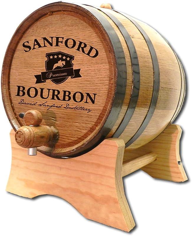Personalized Bourbon Crest 1 Liter White Oak Barrel