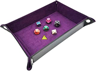 Haxtec Folding DND Dice Tray Black Purple Portable PU Leather Dice Rolling Mat for RPG Dice Games as Dungeons and Dragons ...