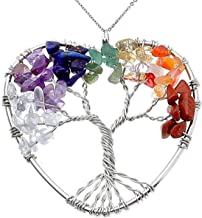 Jovivi Natural Healing Crystals Quartz Tree of Life Necklace 7 Chakras Gemstone Pendant Mother's/Father's Day
