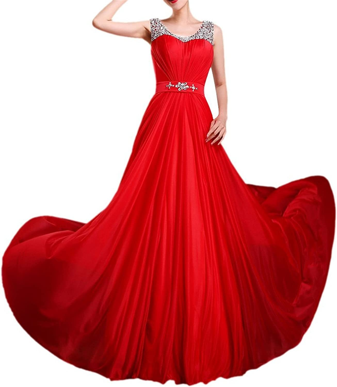 Oppicong Women's Sleeveless Prom Bridesmaid Dresses Sequin Bead Long Evening Gown