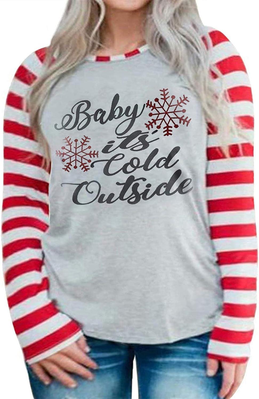 ROSRISS Womens Plus-Size Christmas Shirts Casual Funny Tops Striped Raglan Tunics