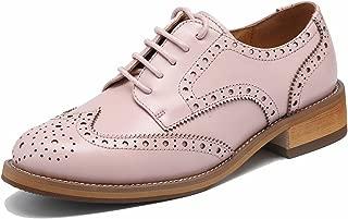 Las mujeres perforaron Wingtip Leather Oxfords, Vintage Brogue cómodo Office Low Heel Shoes