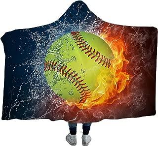 Irisbell Hooded Blanket Cape Wrap Baseball Softball Soccer Soft Wearable Blanket Hooded Throw Poncho 60''H x 80''W (Softball, 80''x60'')