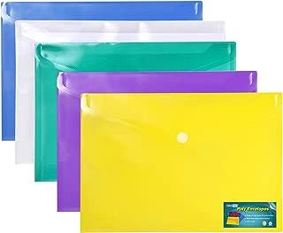 Poly Envelope- 5pc Mix Vibrant Colors Set- Translucent, Water/tear Resistant